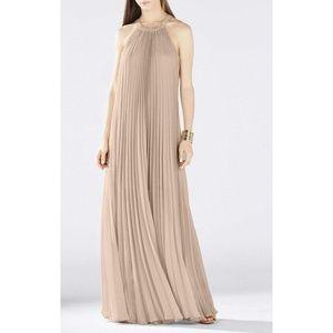 BCBGMaxAzria Meghen halter pleated dress